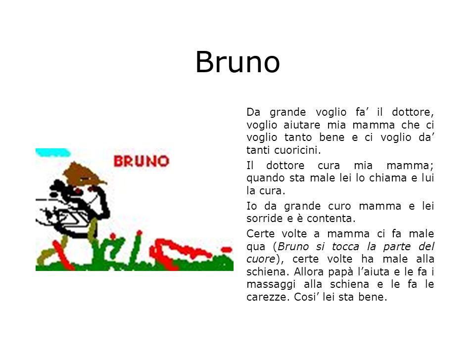 Bruno Da grande voglio fa il dottore, voglio aiutare mia mamma che ci voglio tanto bene e ci voglio da tanti cuoricini. Il dottore cura mia mamma; qua
