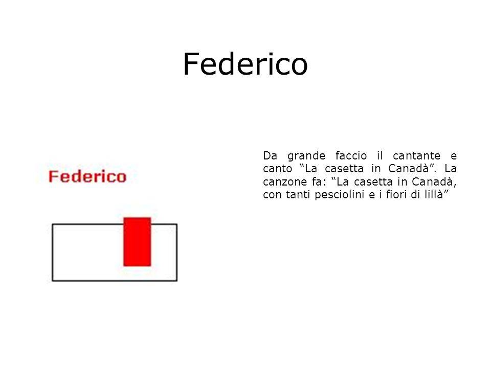 Federico Da grande faccio il cantante e canto La casetta in Canadà. La canzone fa: La casetta in Canadà, con tanti pesciolini e i fiori di lillà