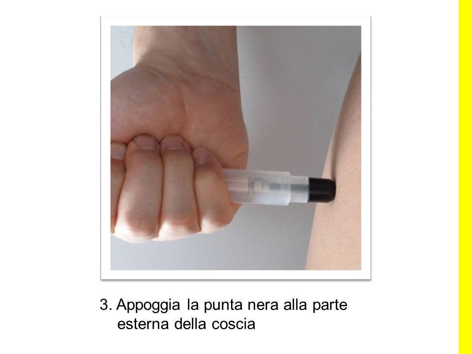 3. Appoggia la punta nera alla parte esterna della coscia