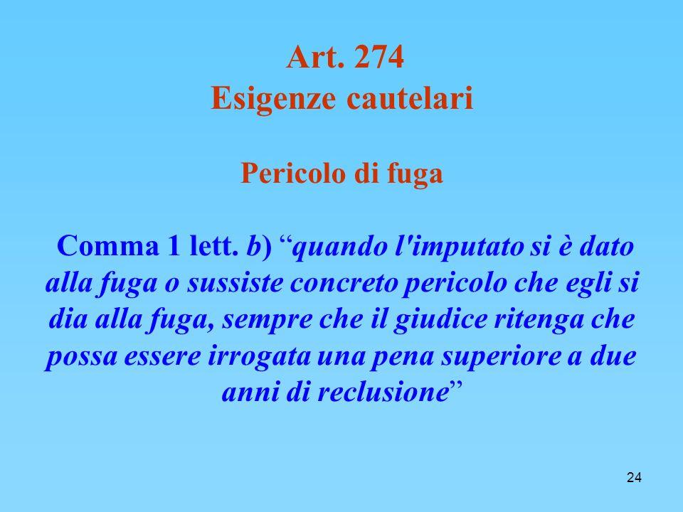 24 Art.274 Esigenze cautelari Pericolo di fuga Comma 1 lett.