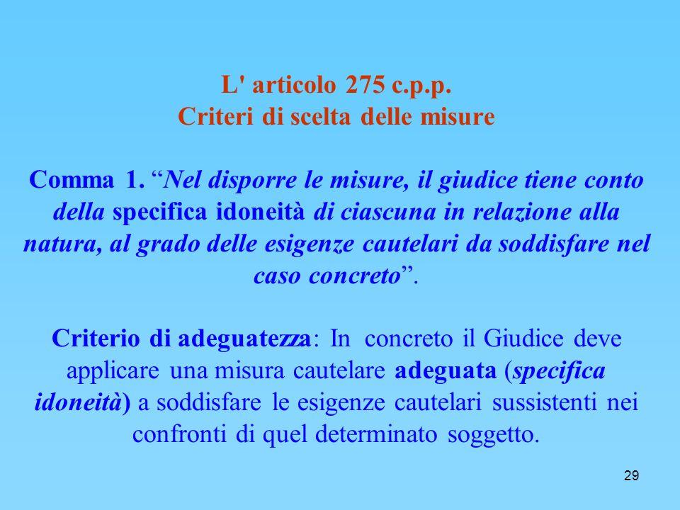 29 L articolo 275 c.p.p.Criteri di scelta delle misure Comma 1.
