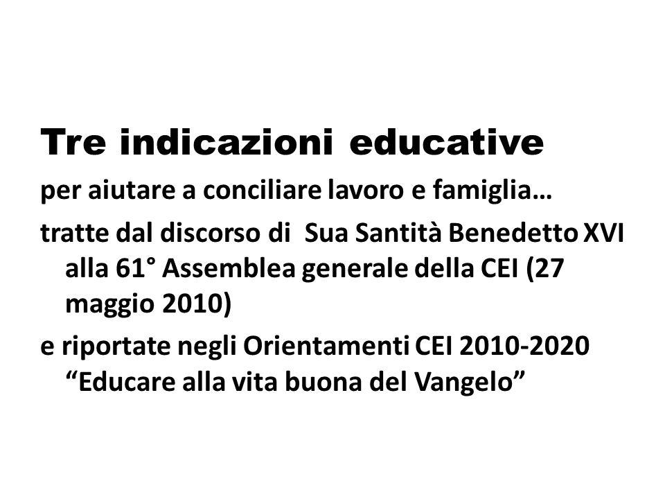 Tre indicazioni educative per aiutare a conciliare lavoro e famiglia… tratte dal discorso di Sua Santità Benedetto XVI alla 61° Assemblea generale della CEI (27 maggio 2010) e riportate negli Orientamenti CEI 2010-2020 Educare alla vita buona del Vangelo
