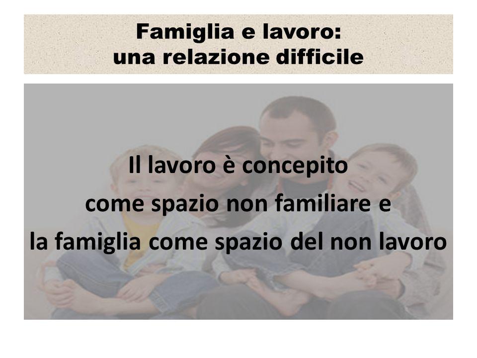 Famiglia e lavoro: una relazione difficile Il lavoro è concepito come spazio non familiare e la famiglia come spazio del non lavoro