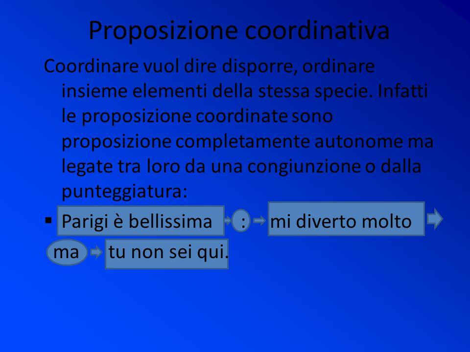 Proposizione coordinativa Coordinare vuol dire disporre, ordinare insieme elementi della stessa specie.