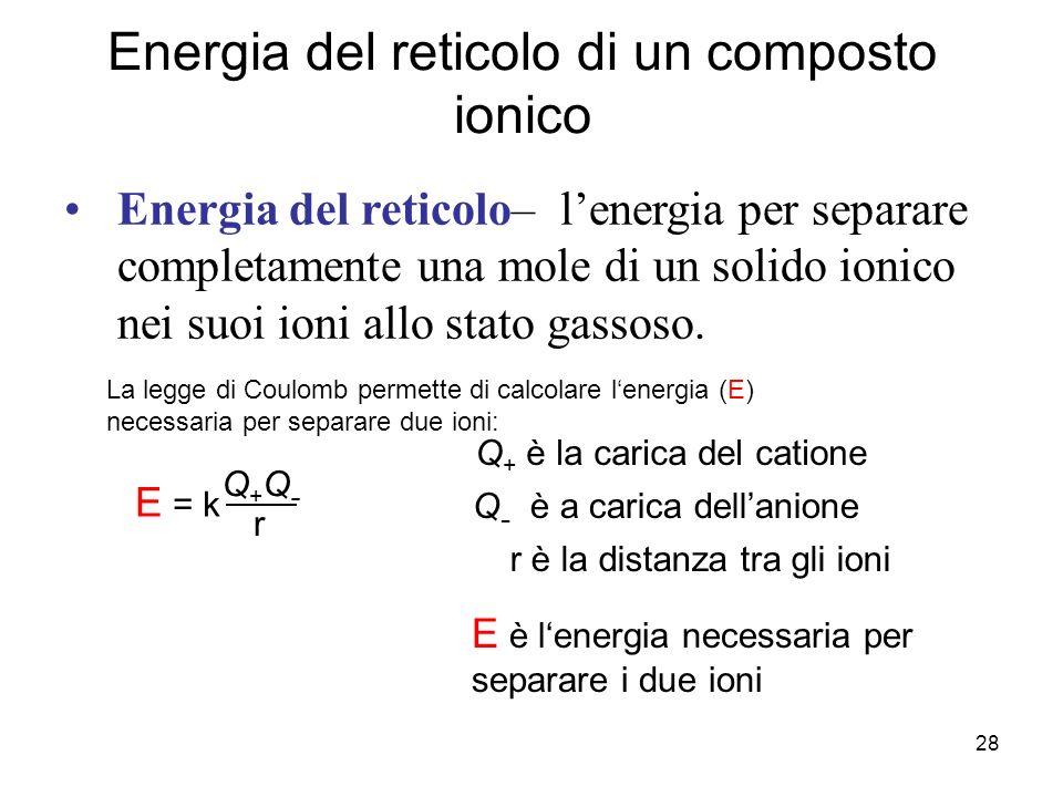 28 Energia del reticolo di un composto ionico Energia del reticolo– lenergia per separare completamente una mole di un solido ionico nei suoi ioni all