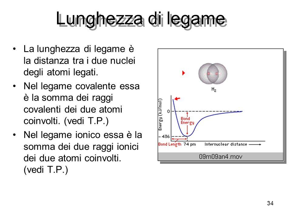 34 Lunghezza di legame La lunghezza di legame è la distanza tra i due nuclei degli atomi legati. Nel legame covalente essa è la somma dei raggi covale