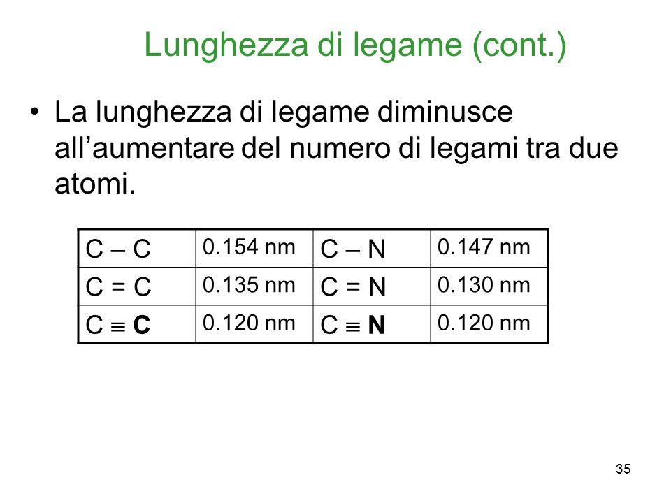 35 Lunghezza di legame (cont.) La lunghezza di legame diminusce allaumentare del numero di legami tra due atomi. C – C 0.154 nm C – N 0.147 nm C = C 0