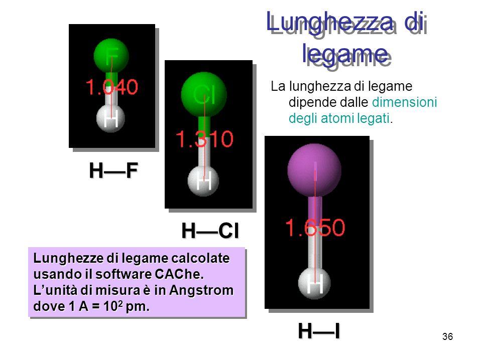 36 Lunghezza di legame La lunghezza di legame dipende dalle dimensioni degli atomi legati. HF HCl HI Lunghezze di legame calcolate usando il software
