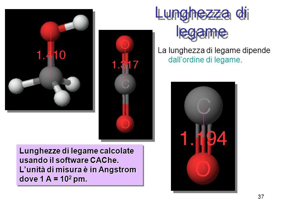 37 Lunghezze di legame calcolate usando il software CAChe. Lunità di misura è in Angstrom dove 1 A = 10 2 pm. Lunghezza di legame La lunghezza di lega