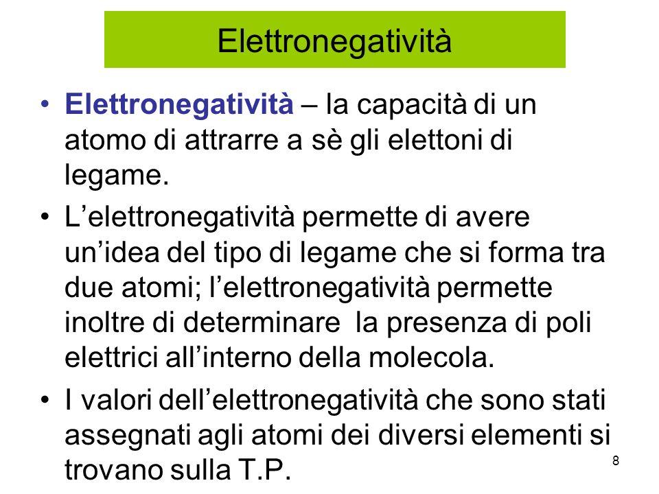 8 Elettronegatività – la capacità di un atomo di attrarre a sè gli elettoni di legame. Lelettronegatività permette di avere unidea del tipo di legame