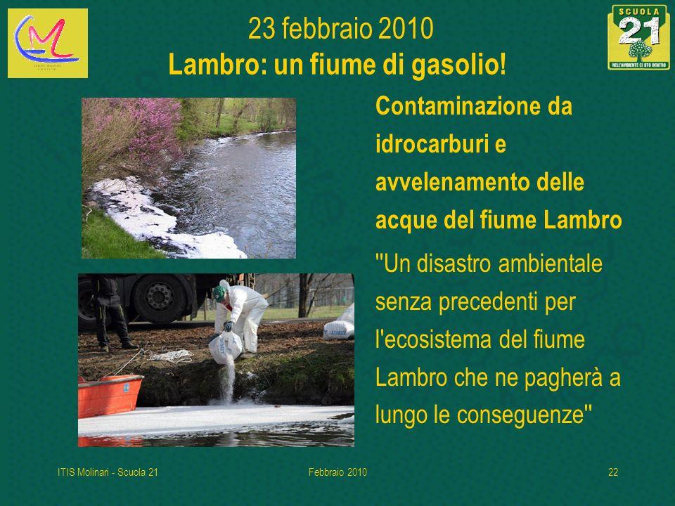 ITIS Molinari - Scuola 21Febbraio 201022 23 febbraio 2010 Lambro: un fiume di gasolio.