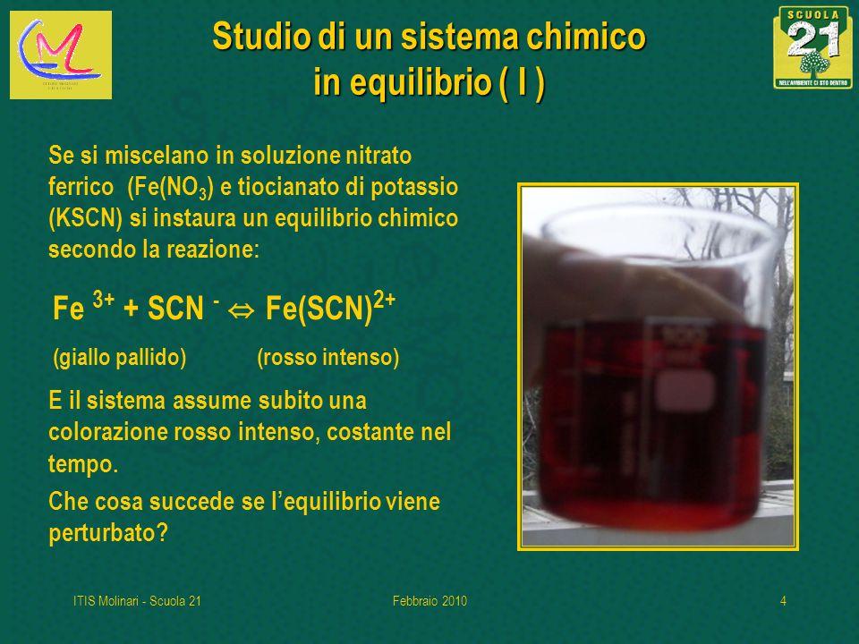 ITIS Molinari - Scuola 21Febbraio 20104 Studio di un sistema chimico in equilibrio ( I ) Se si miscelano in soluzione nitrato ferrico (Fe(NO 3 ) e tiocianato di potassio (KSCN) si instaura un equilibrio chimico secondo la reazione: E il sistema assume subito una colorazione rosso intenso, costante nel tempo.