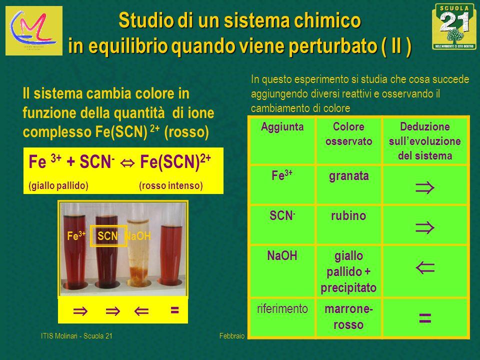 ITIS Molinari - Scuola 21Febbraio 20105 Studio di un sistema chimico in equilibrioquando viene perturbato ( II ) Studio di un sistema chimico in equilibrio quando viene perturbato ( II ) = Fe 3+ SCN - NaOH Fe 3+ + SCN - Fe(SCN) 2+ (giallo pallido) (rosso intenso) Il sistema cambia colore in funzione della quantità di ione complesso Fe(SCN) 2+ (rosso) In questo esperimento si studia che cosa succede aggiungendo diversi reattivi e osservando il cambiamento di colore AggiuntaColore osservato Deduzione sullevoluzione del sistema Fe 3+ granata SCN - rubino NaOHgiallo pallido + precipitato riferimento marrone- rosso =
