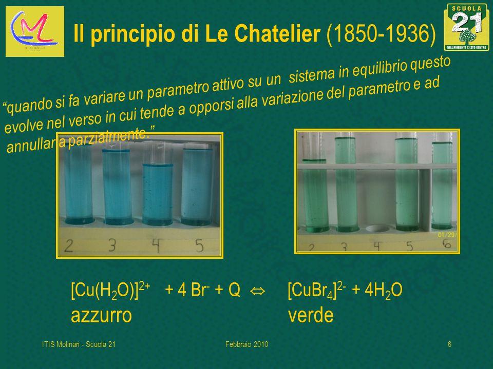 ITIS Molinari - Scuola 21Febbraio 20106 Il principio di Le Chatelier (1850-1936) [Cu(H 2 O)] 2+ + 4 Br - + Q [CuBr 4 ] 2- + 4H 2 O azzurro verde quando si fa variare un parametro attivo su un sistema in equilibrio questo evolve nel verso in cui tende a opporsi alla variazione del parametro e ad annullarla parzialmente.
