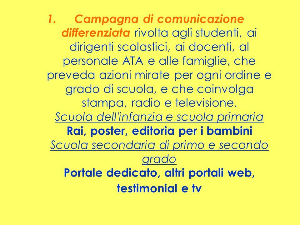 1.Campagna di comunicazione differenziata rivolta agli studenti, ai dirigenti scolastici, ai docenti, al personale ATA e alle famiglie, che preveda az