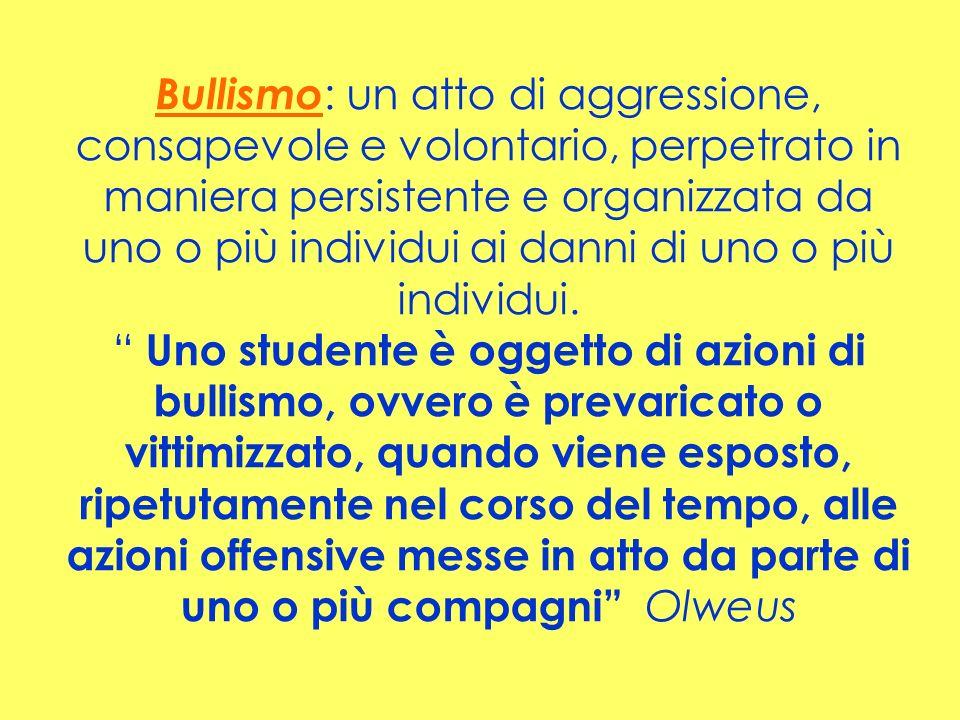 Bullismo : un atto di aggressione, consapevole e volontario, perpetrato in maniera persistente e organizzata da uno o più individui ai danni di uno o