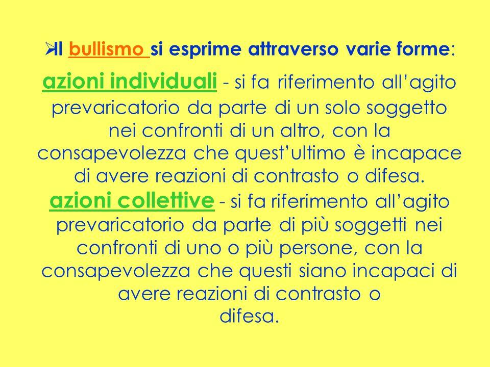 Il bullismo si esprime attraverso varie forme : azioni individuali - si fa riferimento allagito prevaricatorio da parte di un solo soggetto nei confro
