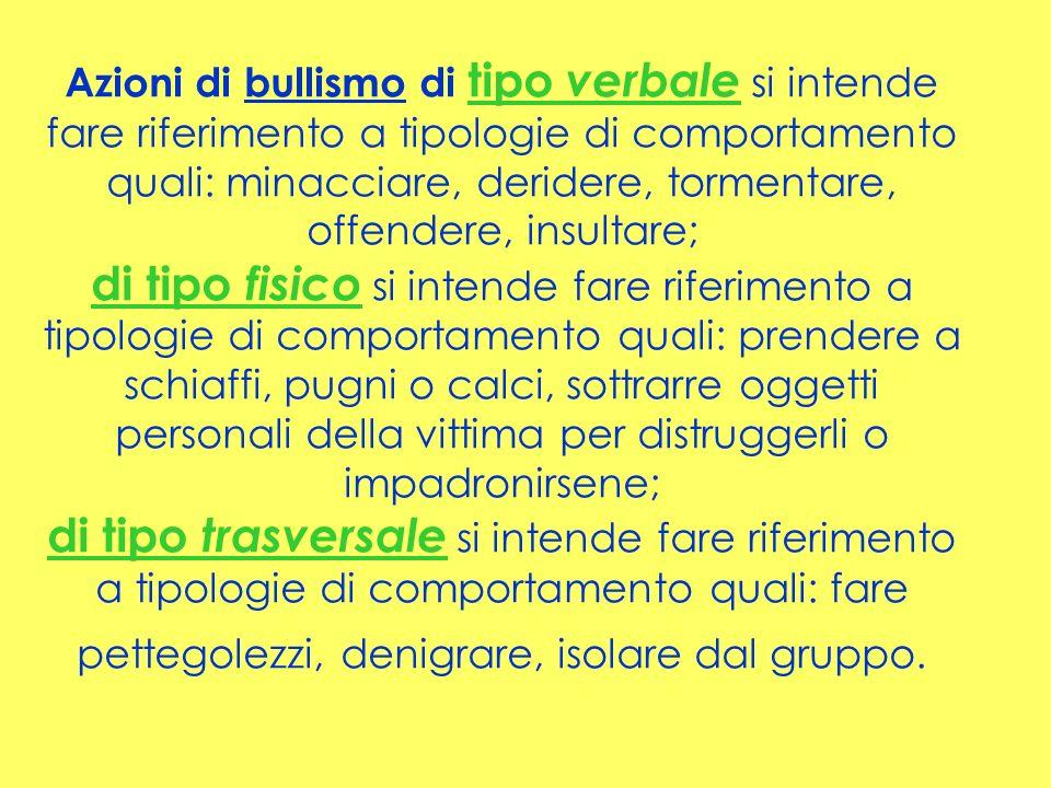 Azioni di bullismo di tipo verbale si intende fare riferimento a tipologie di comportamento quali: minacciare, deridere, tormentare, offendere, insult