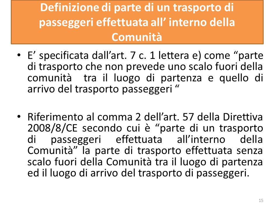 Definizione di parte di un trasporto di passeggeri effettuata all interno della Comunità E specificata dallart. 7 c. 1 lettera e) come parte di traspo
