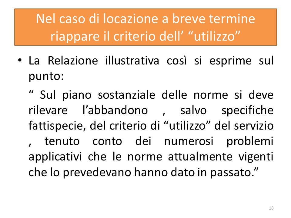 Nel caso di locazione a breve termine riappare il criterio dell utilizzo La Relazione illustrativa così si esprime sul punto: Sul piano sostanziale de