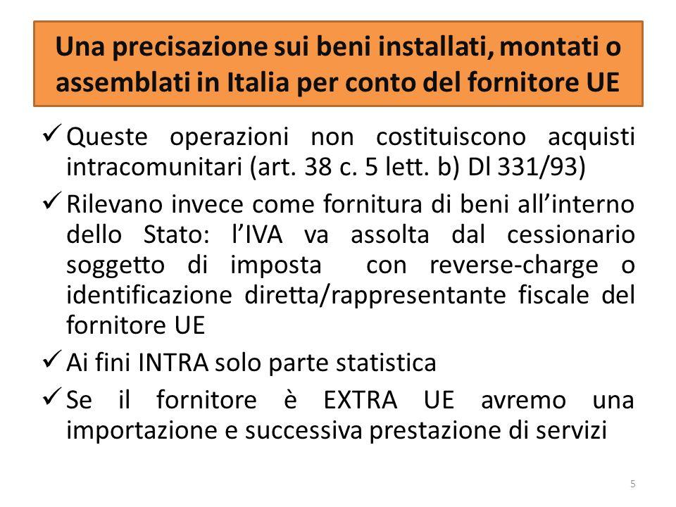 Una precisazione sui beni installati, montati o assemblati in Italia per conto del fornitore UE Queste operazioni non costituiscono acquisti intracomu