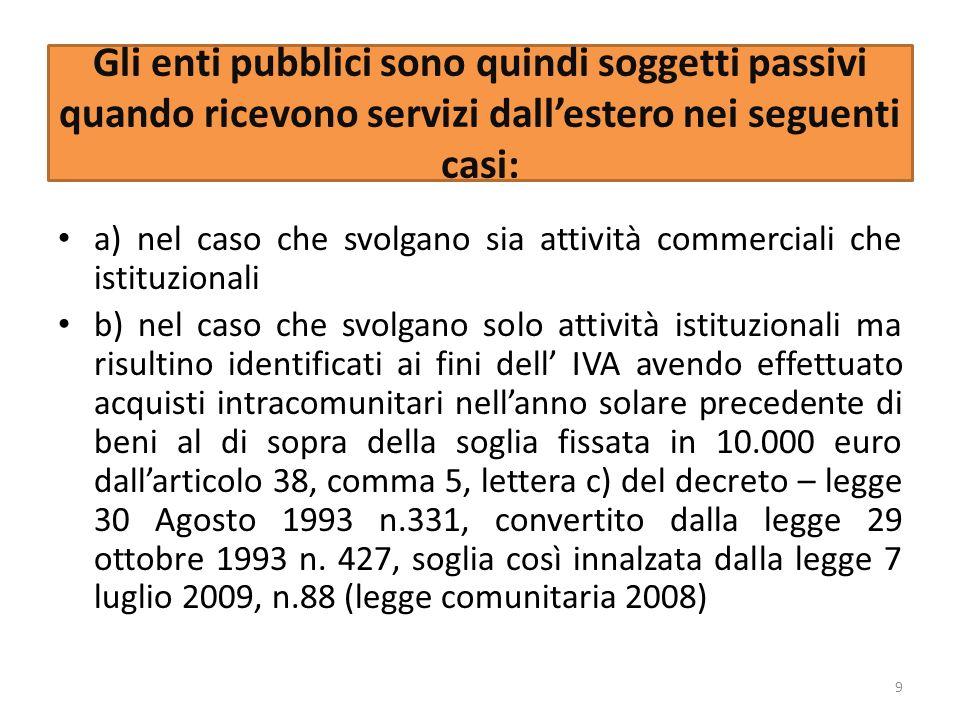 Gli enti pubblici sono quindi soggetti passivi quando ricevono servizi dallestero nei seguenti casi: a) nel caso che svolgano sia attività commerciali