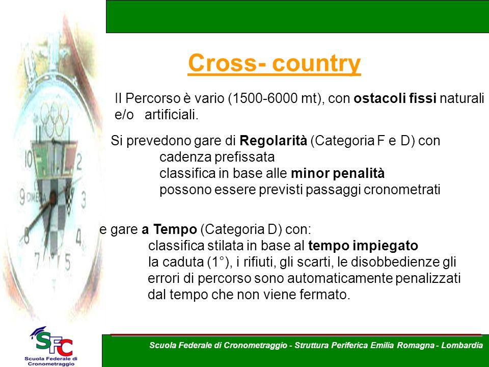 Cross- country Il Percorso è vario (1500-6000 mt), con ostacoli fissi naturali e/o artificiali. Si prevedono gare di Regolarità (Categoria F e D) con