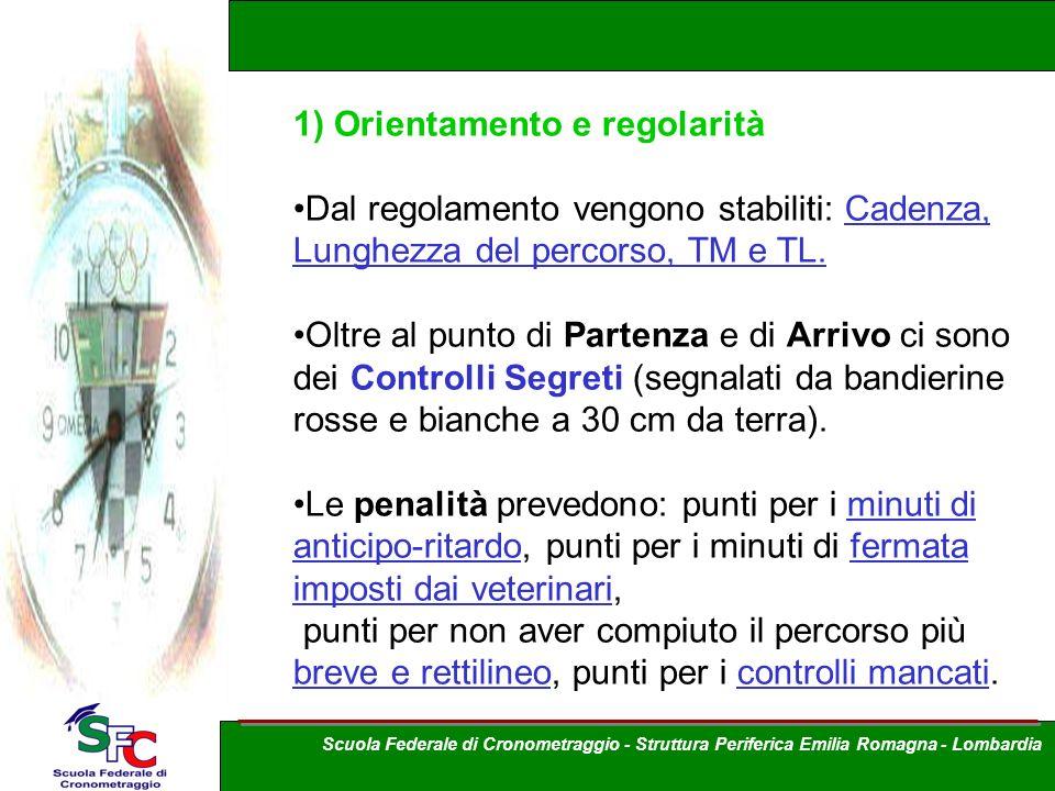 1) Orientamento e regolarità Dal regolamento vengono stabiliti: Cadenza, Lunghezza del percorso, TM e TL. Oltre al punto di Partenza e di Arrivo ci so