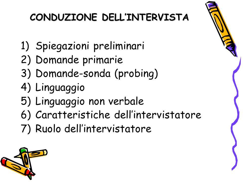 CONDUZIONE DELLINTERVISTA 1)Spiegazioni preliminari 2)Domande primarie 3)Domande-sonda (probing) 4)Linguaggio 5)Linguaggio non verbale 6)Caratteristic