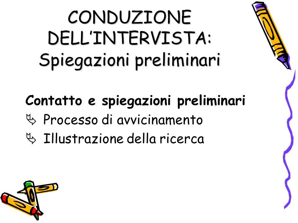 CONDUZIONE DELLINTERVISTA: Spiegazioni preliminari Contatto e spiegazioni preliminari Processo di avvicinamento Illustrazione della ricerca