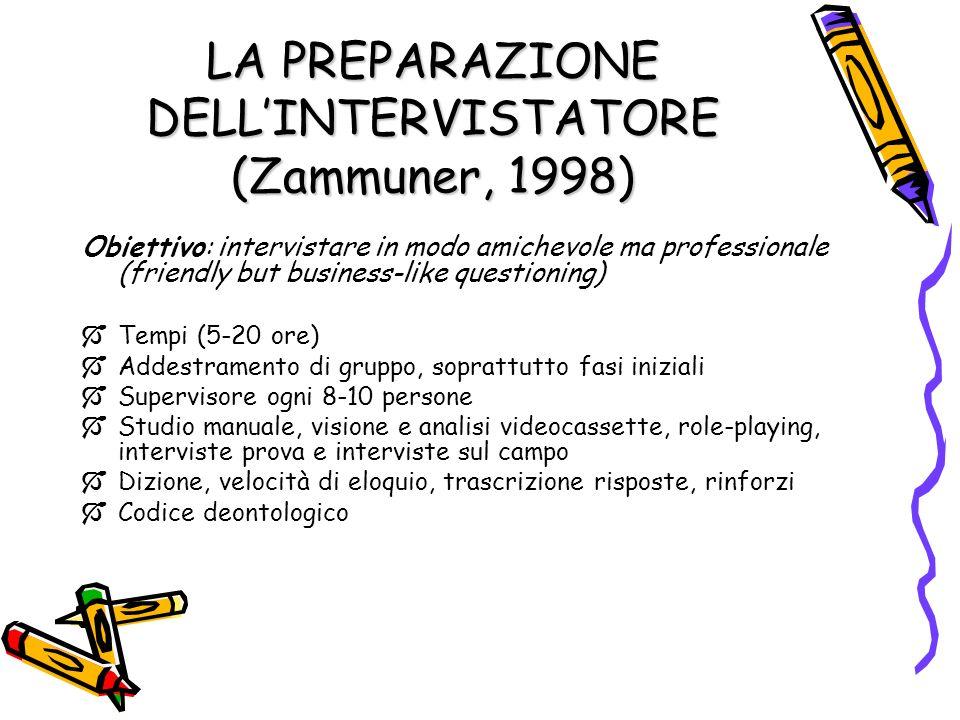 LA PREPARAZIONE DELLINTERVISTATORE (Zammuner, 1998) Obiettivo: intervistare in modo amichevole ma professionale (friendly but business-like questionin
