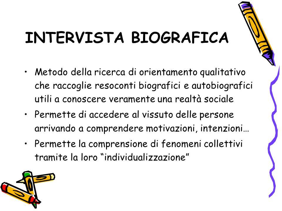 INTERVISTA BIOGRAFICA Metodo della ricerca di orientamento qualitativo che raccoglie resoconti biografici e autobiografici utili a conoscere veramente