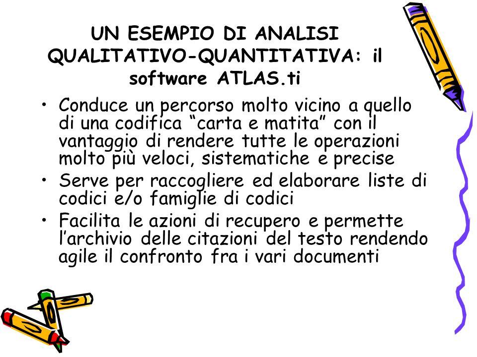 UN ESEMPIO DI ANALISI QUALITATIVO-QUANTITATIVA: il software ATLAS.ti Conduce un percorso molto vicino a quello di una codifica carta e matita con il v