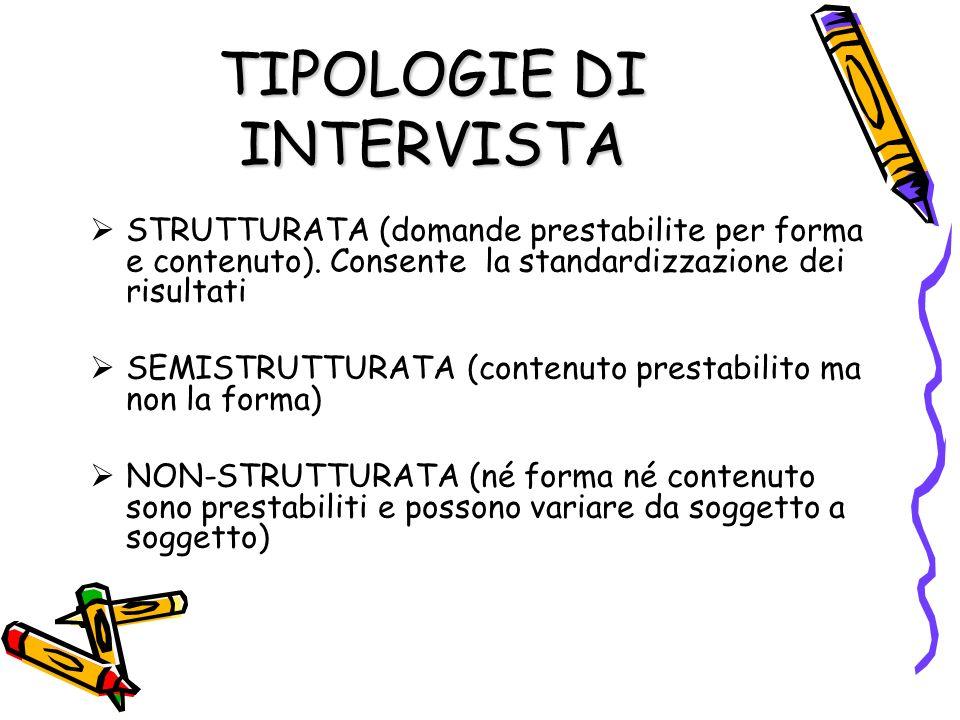 TIPOLOGIE DI INTERVISTA STRUTTURATA (domande prestabilite per forma e contenuto). Consente la standardizzazione dei risultati SEMISTRUTTURATA (contenu