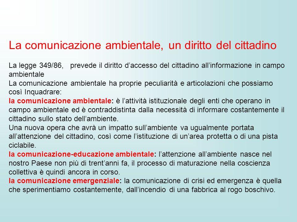 La comunicazione ambientale, un diritto del cittadino La legge 349/86, prevede il diritto daccesso del cittadino allinformazione in campo ambientale L