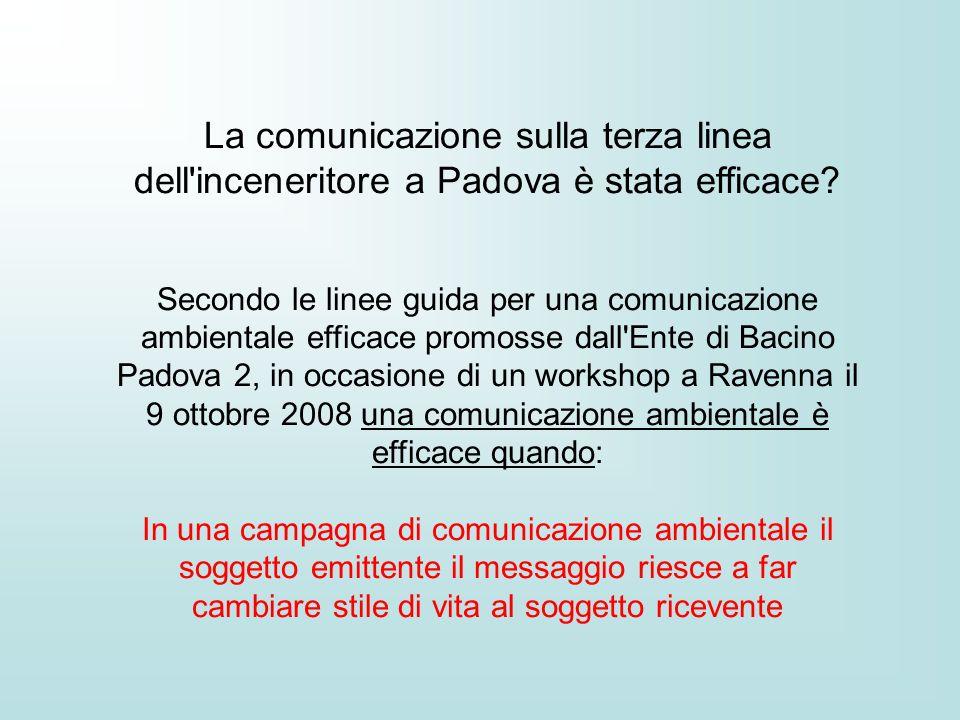 La comunicazione sulla terza linea dell inceneritore a Padova è stata efficace.