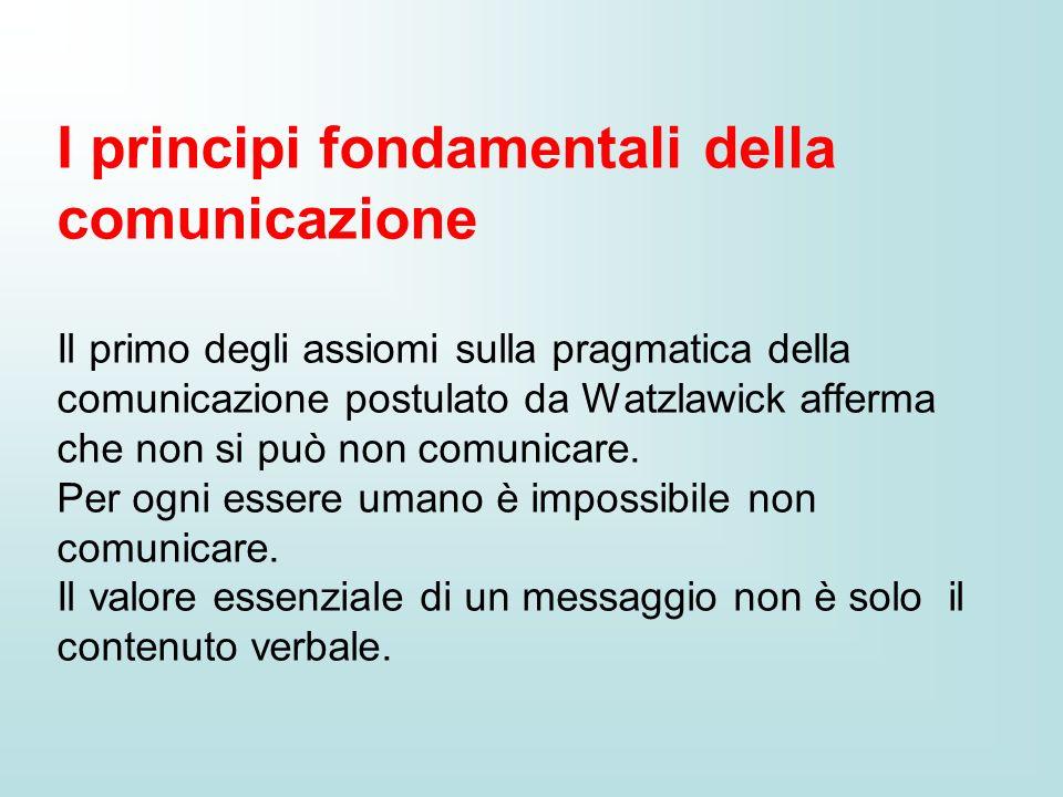 I principi fondamentali della comunicazione Il primo degli assiomi sulla pragmatica della comunicazione postulato da Watzlawick afferma che non si può