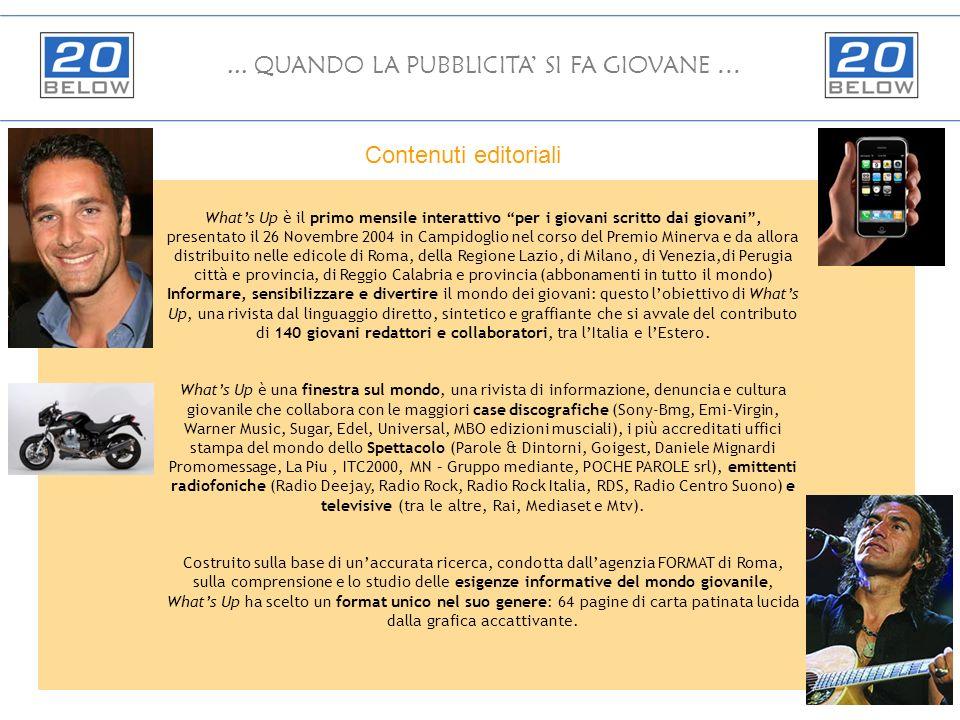 Whats Up è il primo mensile interattivo per i giovani scritto dai giovani, presentato il 26 Novembre 2004 in Campidoglio nel corso del Premio Minerva e da allora distribuito nelle edicole di Roma, della Regione Lazio, di Milano, di Venezia,di Perugia città e provincia, di Reggio Calabria e provincia (abbonamenti in tutto il mondo) Informare, sensibilizzare e divertire il mondo dei giovani: questo lobiettivo di Whats Up, una rivista dal linguaggio diretto, sintetico e graffiante che si avvale del contributo di 140 giovani redattori e collaboratori, tra lItalia e lEstero.