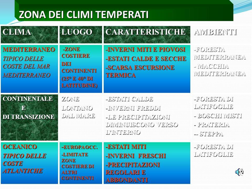 ZONA DEI CLIMI ARIDI CLIMALUOGOCARATTERISTICHEAMBIENTE TROPICALEARIDO-AUSTRALIA -SUD AMERICA --AFRICA --ASIA -TEMPERATURE ABBASTANZA ELEVATE -PRECIPIT