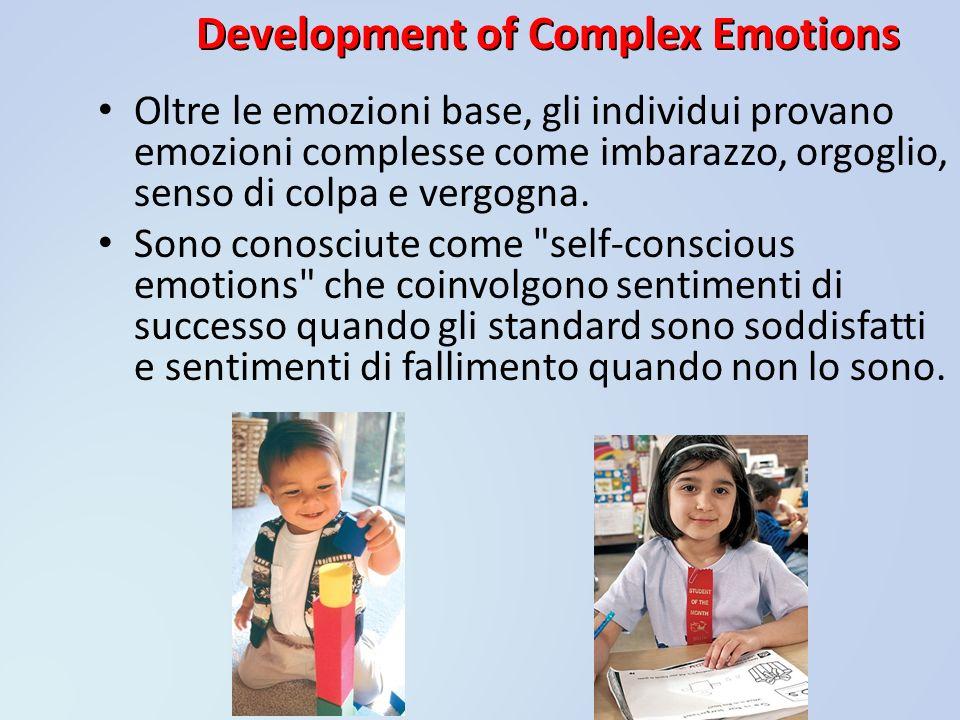 Development of Complex Emotions Oltre le emozioni base, gli individui provano emozioni complesse come imbarazzo, orgoglio, senso di colpa e vergogna.