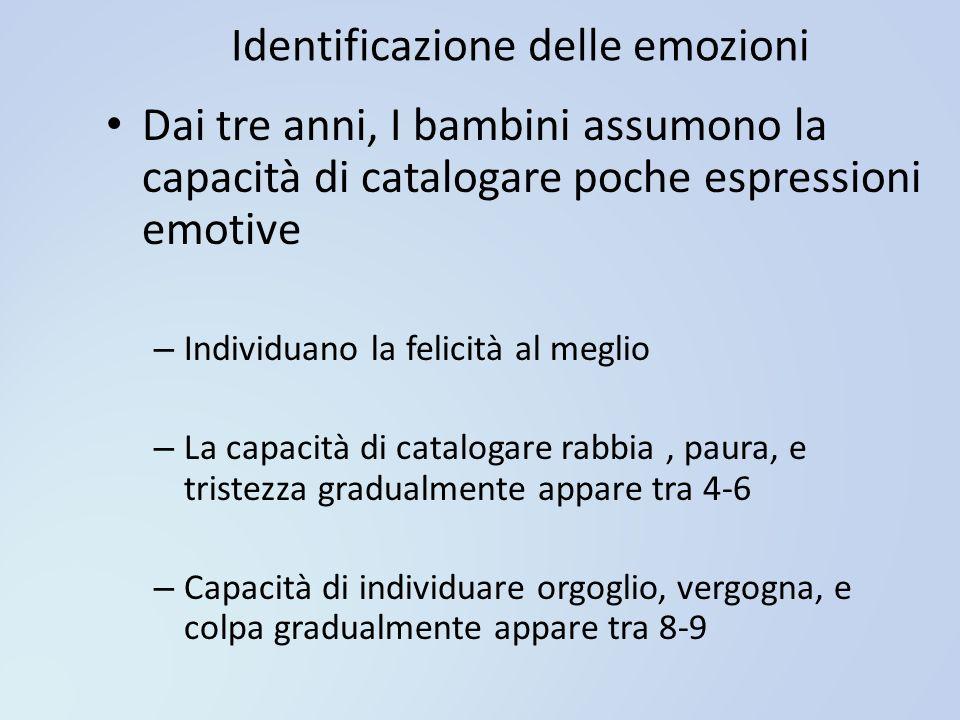 Identificazione delle emozioni Dai tre anni, I bambini assumono la capacità di catalogare poche espressioni emotive – Individuano la felicità al megli