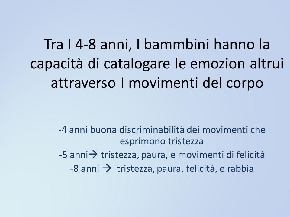 Tra I 4-8 anni, I bammbini hanno la capacità di catalogare le emozion altrui attraverso I movimenti del corpo - 4 anni buona discriminabilità dei movi