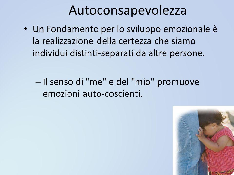 Autoconsapevolezza Un Fondamento per lo sviluppo emozionale è la realizzazione della certezza che siamo individui distinti-separati da altre persone.