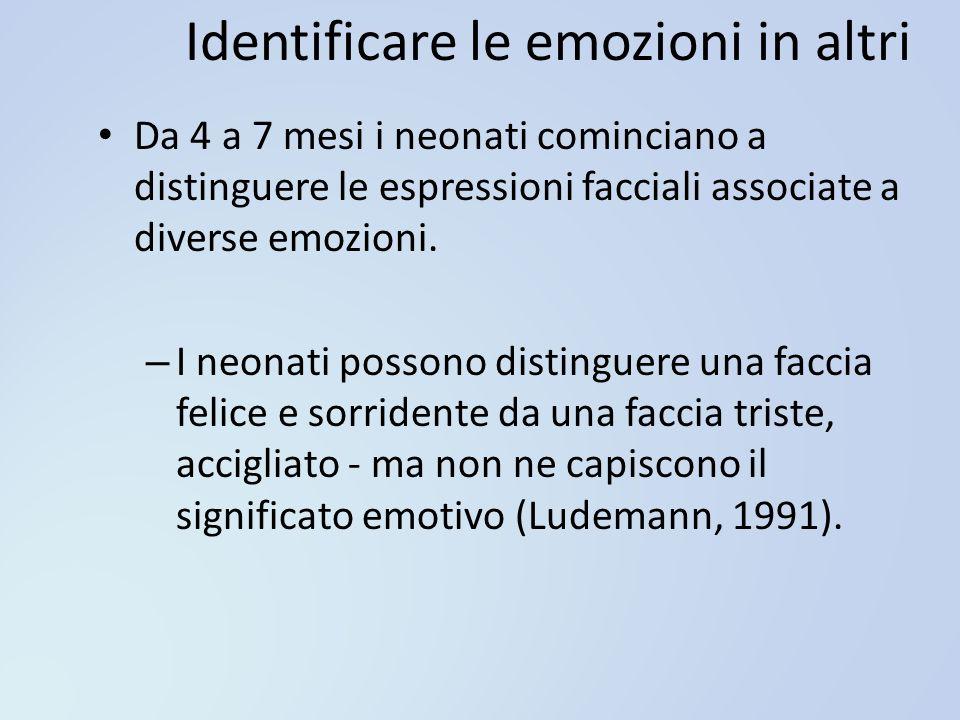 Identificare le emozioni in altri Da 4 a 7 mesi i neonati cominciano a distinguere le espressioni facciali associate a diverse emozioni. – I neonati p