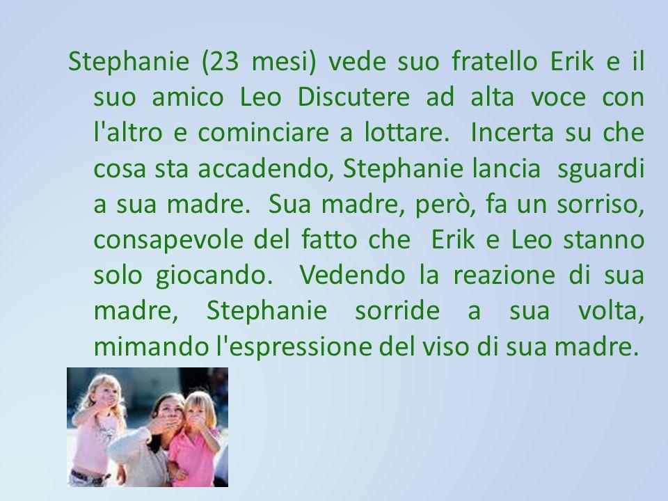 Stephanie (23 mesi) vede suo fratello Erik e il suo amico Leo Discutere ad alta voce con l'altro e cominciare a lottare. Incerta su che cosa sta accad
