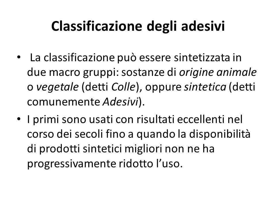 Classificazione degli adesivi La classificazione può essere sintetizzata in due macro gruppi: sostanze di origine animale o vegetale (detti Colle), oppure sintetica (detti comunemente Adesivi).