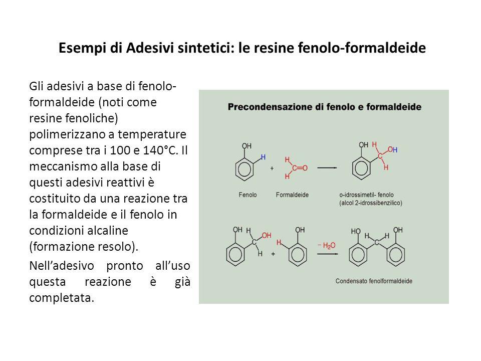 Esempi di Adesivi sintetici: le resine fenolo-formaldeide Gli adesivi a base di fenolo- formaldeide (noti come resine fenoliche) polimerizzano a temperature comprese tra i 100 e 140°C.