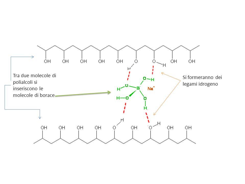 Tra due molecole di polialcoli si inseriscono le molecole di borace Si formeranno dei legami idrogeno