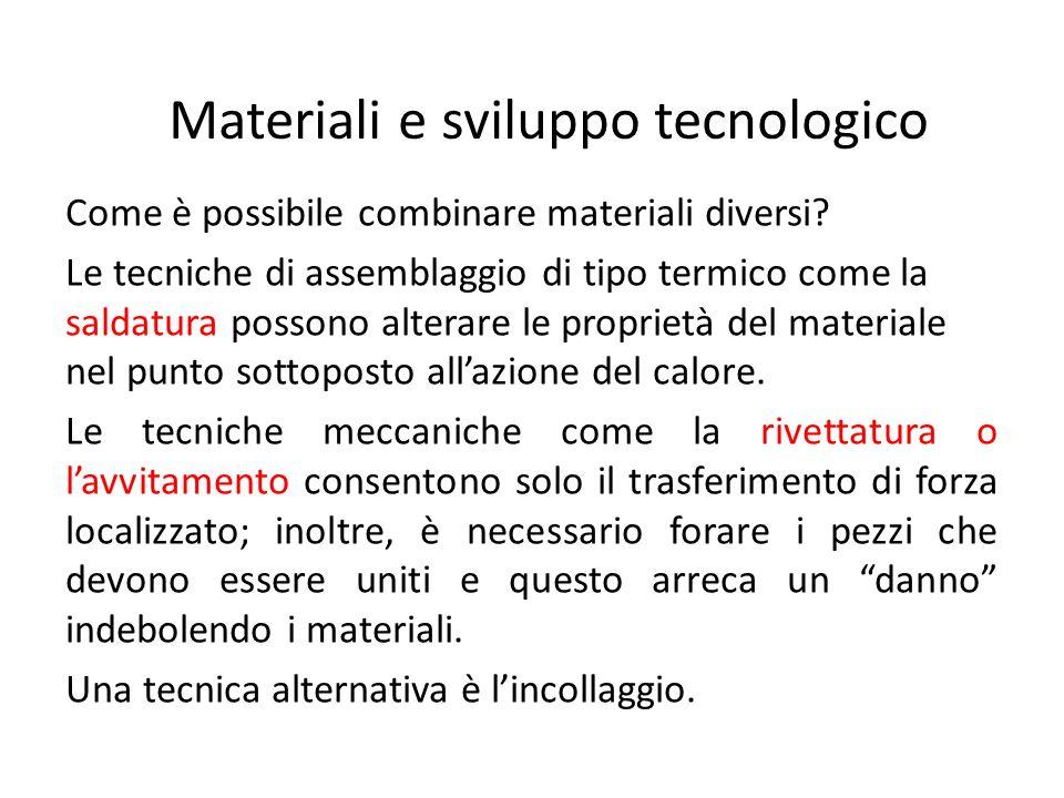 Materiali e sviluppo tecnologico Come è possibile combinare materiali diversi.