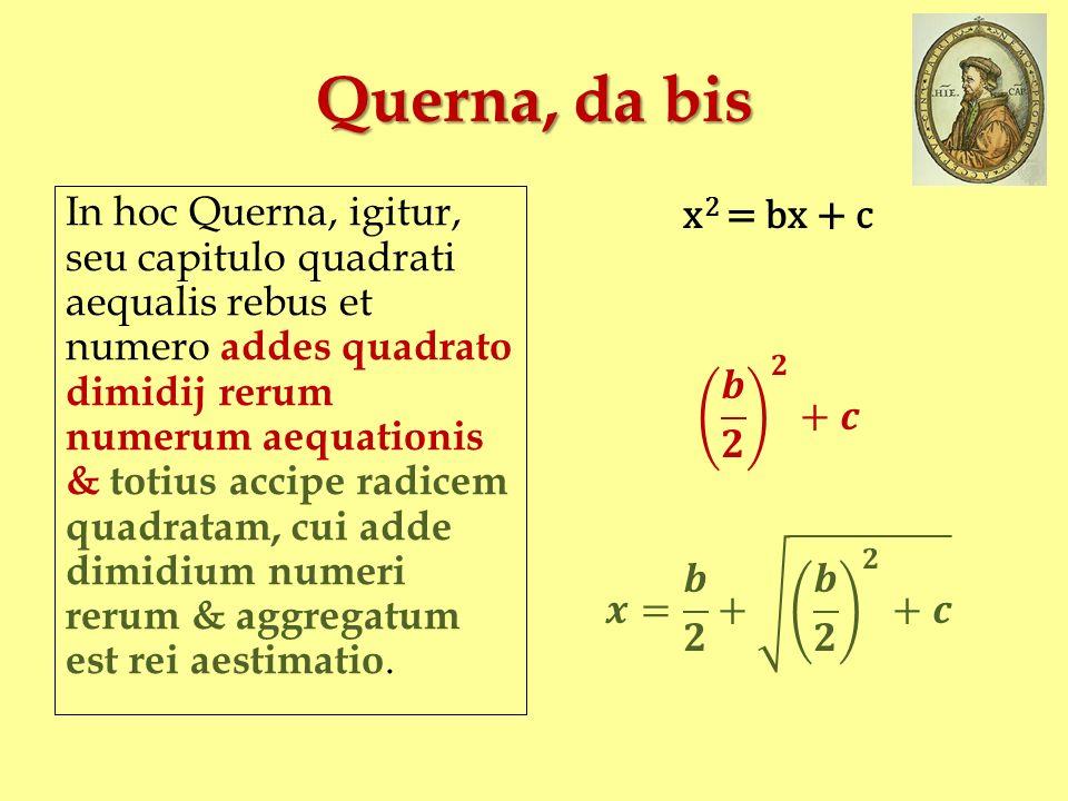 Querna, da bis In hoc Querna, igitur, seu capitulo quadrati aequalis rebus et numero addes quadrato dimidij rerum numerum aequationis & totius accipe